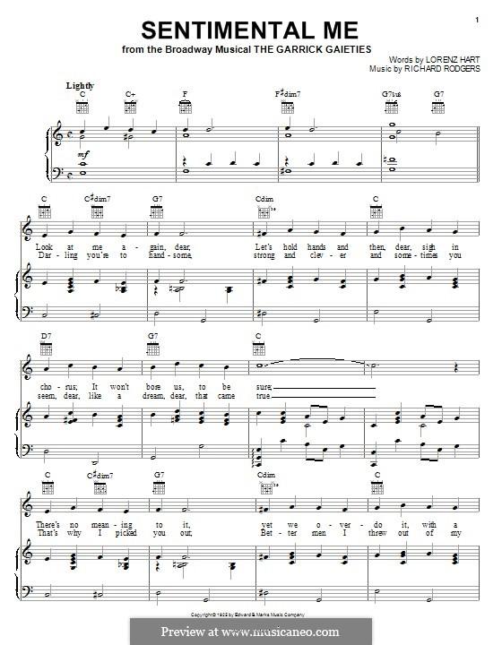 Sentimental Me: Para vocais e piano (ou Guitarra) by Richard Rodgers