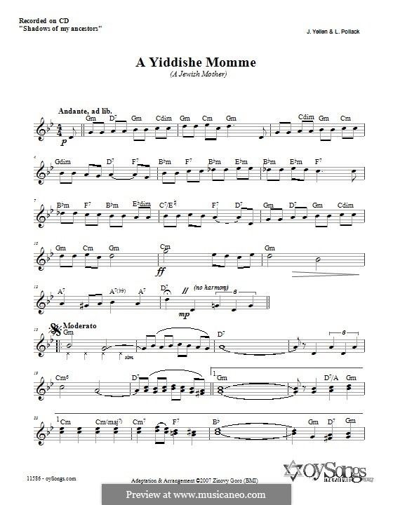 A Yiddishe Momme: Letras e Acordes by Jack Yellen, Lew Pollack