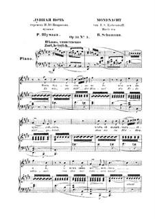 No.5 Mondnacht (Moonlight Night): partitura piano-voz(texto alemão e russo) by Robert Schumann