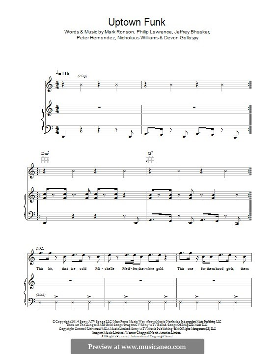 Uptown Funk (Mark Ronson ft. Bruno Mars): Para vocais e piano (ou Guitarra) by Jeff Bhasker, Bruno Mars, Philip Lawrence, Devon Gallaspy, Nicholaus Williams