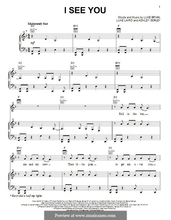 I See You: Para vocais e piano (ou Guitarra) by Ashley Gorley, Luke Laird