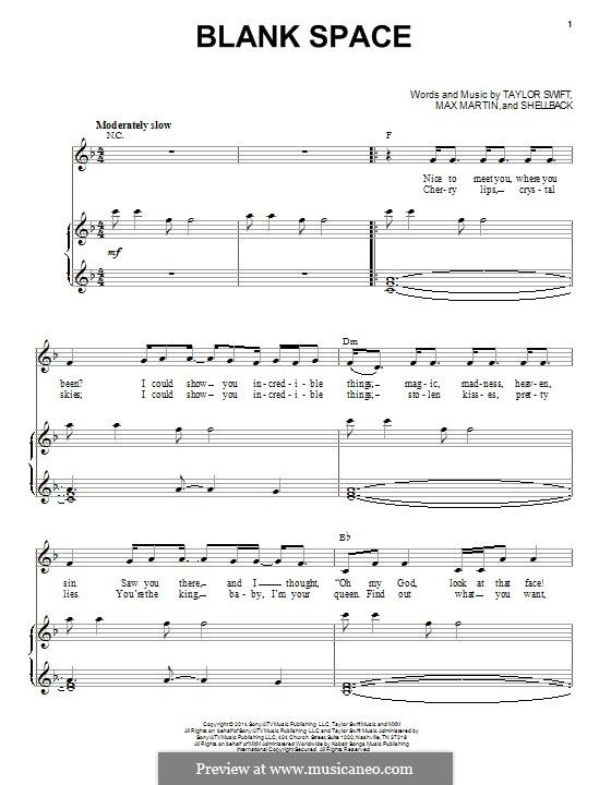 Blank Space: Para vocais e piano by Shellback, Max Martin, Taylor Swift