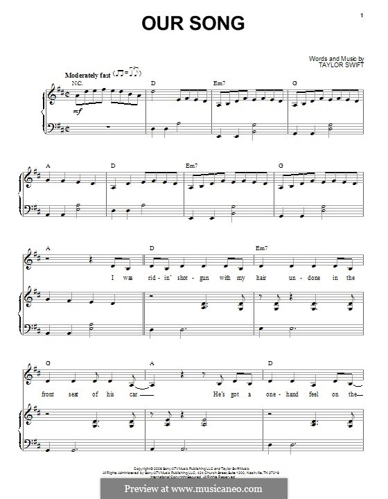 Our Song: Para vocais e piano by Taylor Swift
