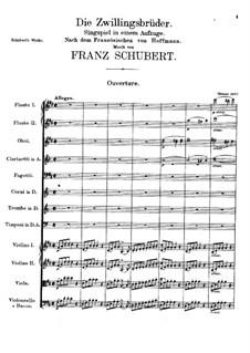 Die Zwillingsbrüder (The Twin Brothers), D.647: abertura by Franz Schubert