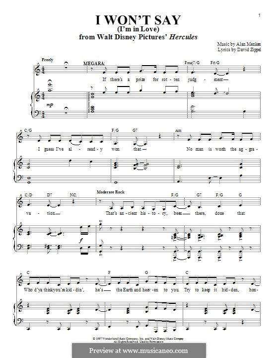I Won't Say (I'm in Love) from Hercules: Para vocais e piano by Alan Menken