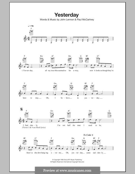 Yesterday (The Beatles): para ukulele by John Lennon, Paul McCartney