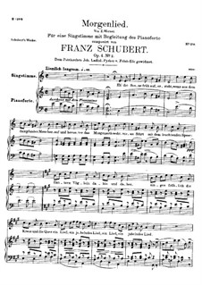 Morgenlied (Morning Song), D.685 Op.4 No.2: para voz alta e piano by Franz Schubert