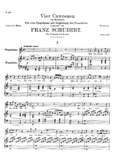 Four Canzones for Voice and Piano, D.688: No.1 Non t'accostar all'urna by Franz Schubert