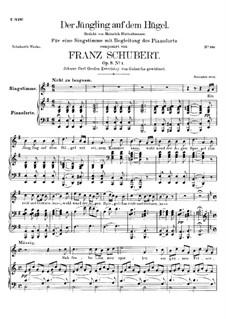 Der Jüngling auf dem Hügel (The Youth on the Hill), D.702 Op.8 No.1: para voz alta e piano by Franz Schubert