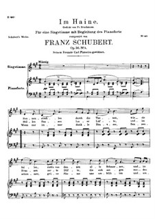 Im Haine (In the Wood), D.738 Op.56 No.3: para voz alta e piano by Franz Schubert