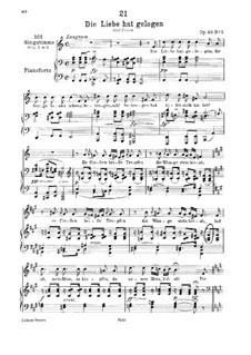 Die Liebe hat gelogen (Love has Lied), D.751 Op.23 No.1: para voz baixa e piano by Franz Schubert