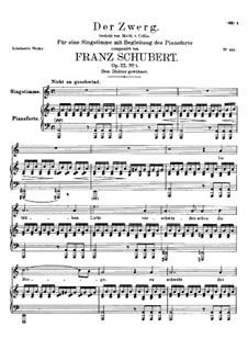 Der Zwerg (The Dwarf), D.771 Op.22 No.1: para voz alta e piano by Franz Schubert