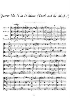 String Quartet No.14 in D Minor 'Death and the Maiden', D.810: Partitura completa by Franz Schubert