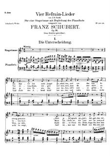 Vier Refrain-Lieder, D.866 Op.95: Nr.1 Die Unterscheidung by Franz Schubert
