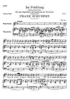 Im Frühling (In Spring), D.882 Op.101 No.1: para voz alta e piano by Franz Schubert