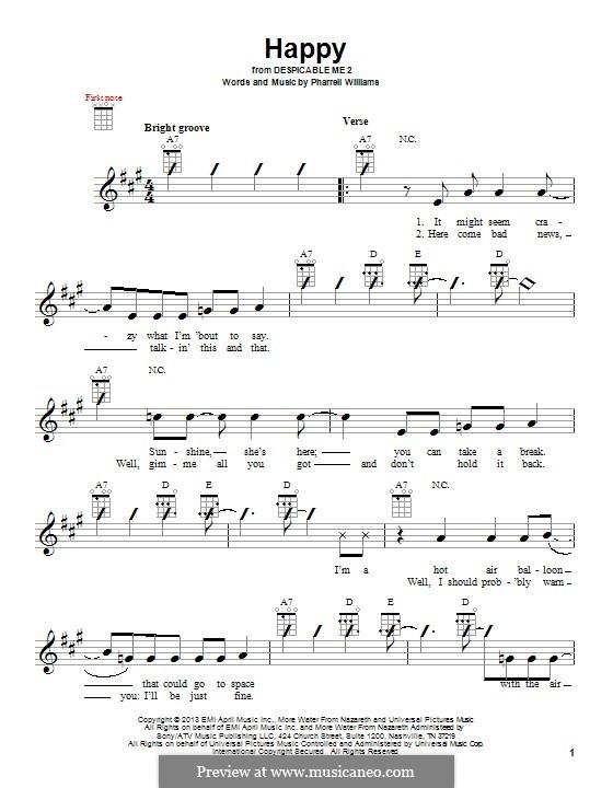 Happy: para ukulele by Pharrell Williams