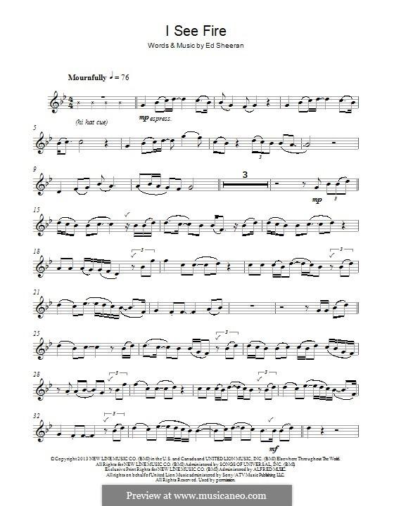 I See Fire (from The Hobbit): para Saxofone Alto by Ed Sheeran