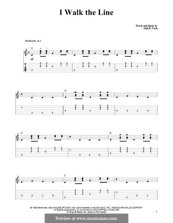 I Walk the Line: Para guitarra com guia by Johnny Cash
