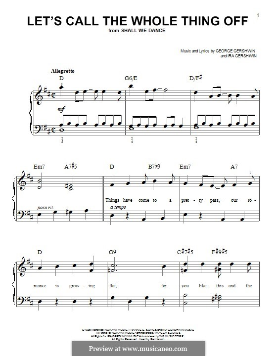 Let's Call the Whole Thing Off: Para Piano by George Gershwin