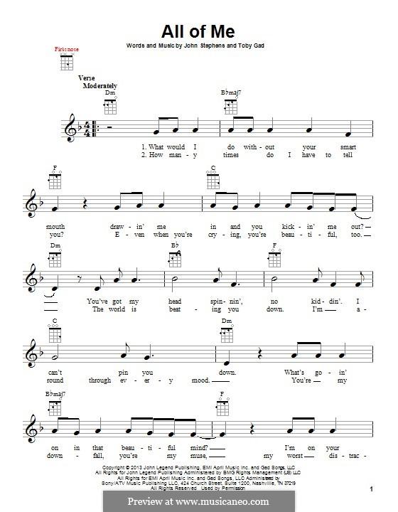 All of Me: para ukulele by John Stephens, Tobias Gad