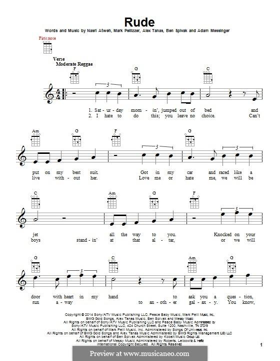 Rude (MAGIC!): para ukulele by Adam Messinger, Nasri Atweh, Mark Pellizzer, Alex Tanas, Ben Spivak