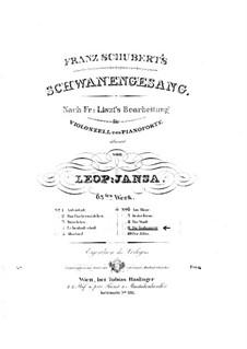 No.14 Die Taubenpost (The Pigeon Post): para Violoncelo e piano by Franz Schubert