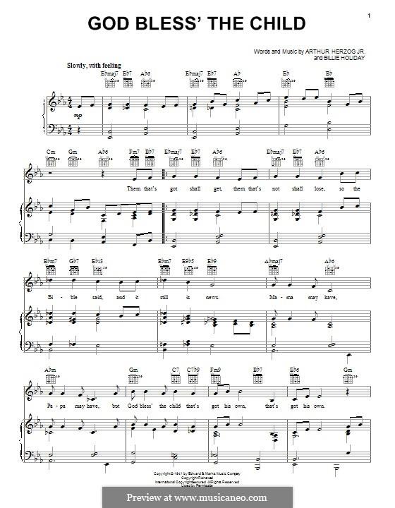 God Bless' the Child (Eva Cassidy): Para vocais e piano (ou Guitarra) by Arthur Herzog, Billie Holiday