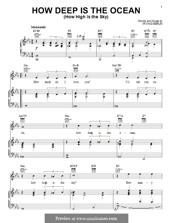 How Deep is the Ocean (How High is the Sky): Para vocais e piano (ou Guitarra) by Irving Berlin