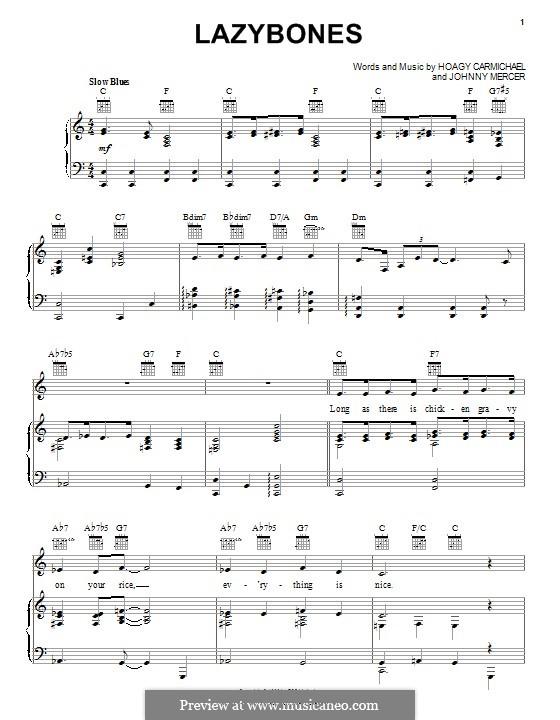 Lazybones: Para vocais e piano (ou Guitarra) by Johnny Mercer