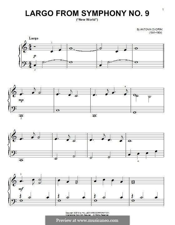 Movement II (Largo) Printable Scores: tema para piano by Antonín Dvořák