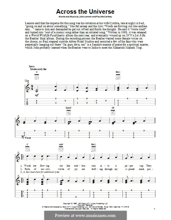 Across the Universe (The Beatles): para ukulele by John Lennon, Paul McCartney