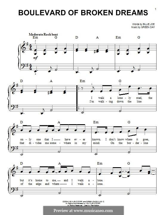 Boulevard of Broken Dreams (Green Day): Para Piano by Billie Joe Armstrong, Tré Cool, Michael Pritchard