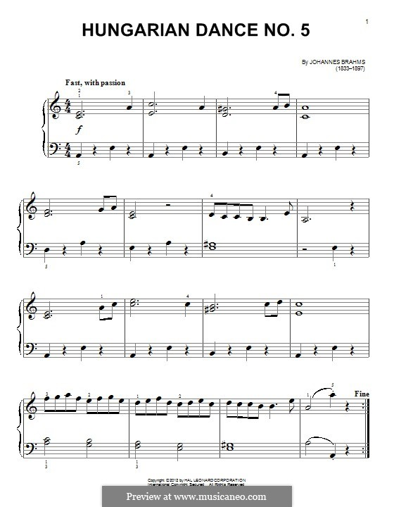 Dance No.5 in F Sharp Minor (Printable scores): Para Piano by Johannes Brahms