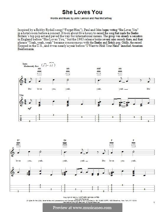 She Loves You (The Beatles): para ukulele by John Lennon, Paul McCartney