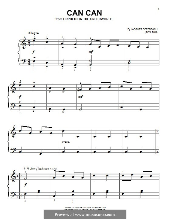 Can-Can (Printable Scores): Para Piano by Jacques Offenbach
