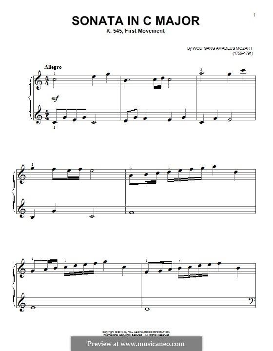 Sonata for Piano No.16 in C Major, K.545: movimento I by Wolfgang Amadeus Mozart