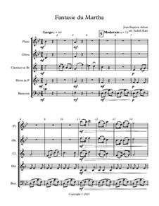 Fantasie du Martha: For wind quintet – score by Jean-Baptiste Arban