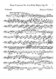 Concerto for Piano and Orchestra No.2 in B Flat Major, Op.83: parte violoncelo by Johannes Brahms