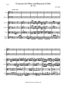 Concerto for Oboe and Bassoon in G Major, RV 545: Score and all parts by Antonio Vivaldi