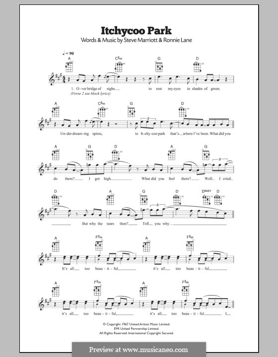Itchycoo Park (The Small Faces): para ukulele by Ronnie Lane, Steve Marriott