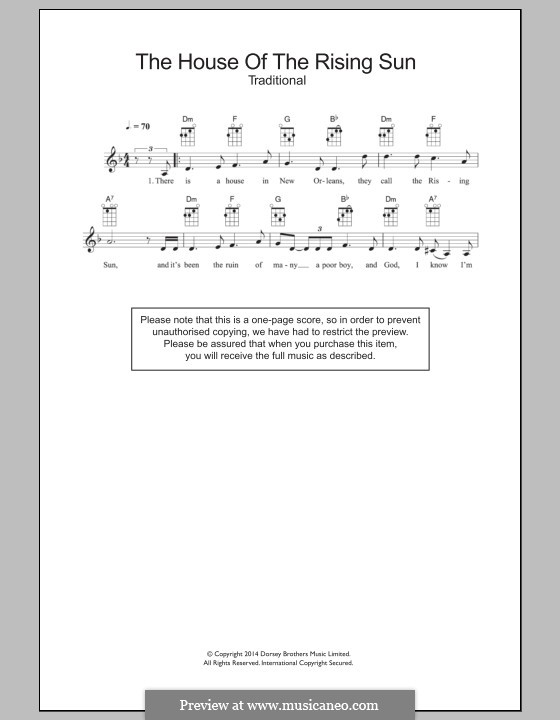 House of the Rising Sun: para ukulele by folklore