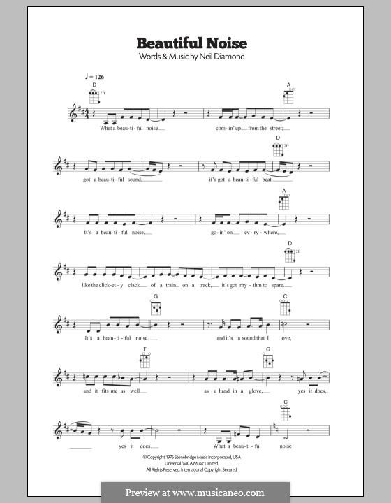 Beautiful Noise: para ukulele by Neil Diamond