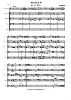 Rondo for Violin and Orchestra in B Flat Major, K.269: Score and all parts by Wolfgang Amadeus Mozart