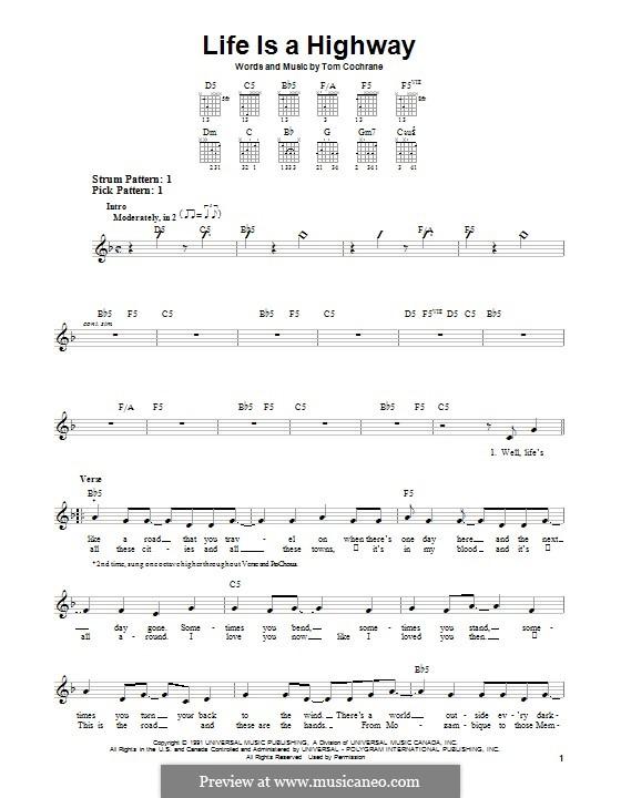 Life Is a Highway: Para guitarra com guia by Tom Cochrane