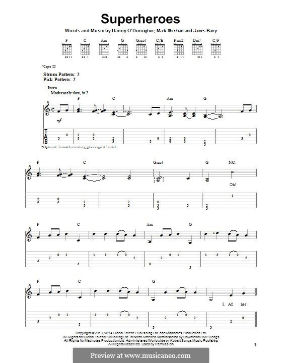 Superheroes (The Script): Para guitarra com guia by Danny O'Donoghue, Mark Sheehan, James Barry