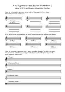 Key Signatures and Scales: Worksheet 2 by Yvonne Johnson