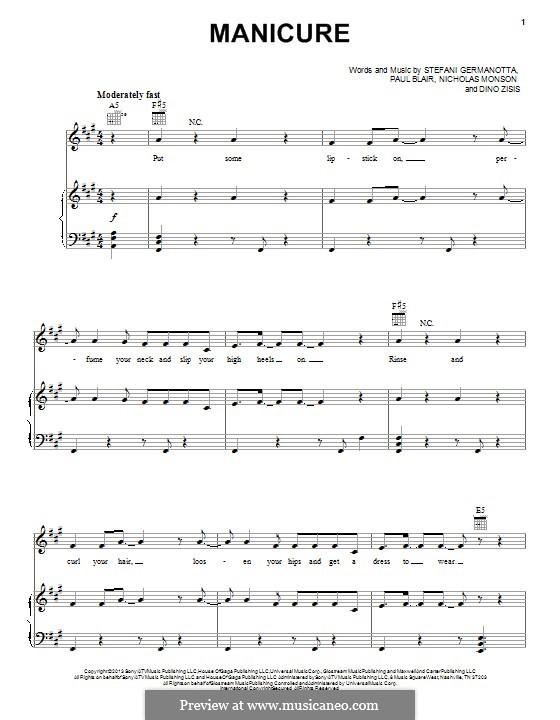 Manicure (Lady Gaga): Para vocais e piano (ou Guitarra) by Paul Blair, Stefani Germanotta, Dino Zisis, Nick Monson