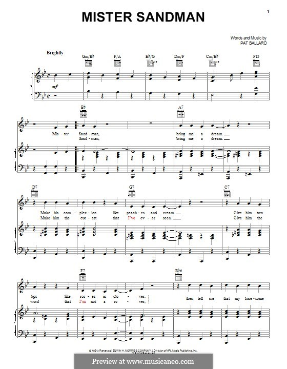 Mister Sandman (The Chordettes): Para vocais e piano (ou Guitarra) by Pat Ballard