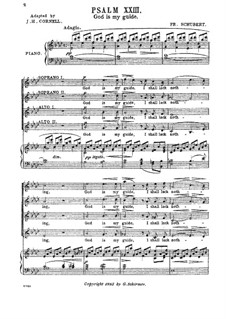 Psalm No.23 for Choir and Piano 'God is My Guide', D.706 Op.132: Partitura piano-vocal by Franz Schubert