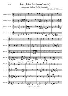 Jesu, deine Passion: For four B-flat clarinets by Johann Sebastian Bach
